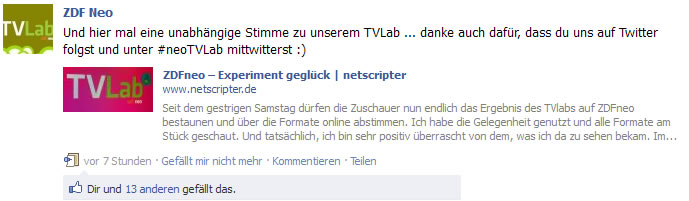 ZDFneo twittert mich an (Frank Krause / ZDFneo / Facebook)