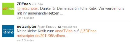 ZDFneo twittert mich an (Frank Krause / ZDFneo / twitter)