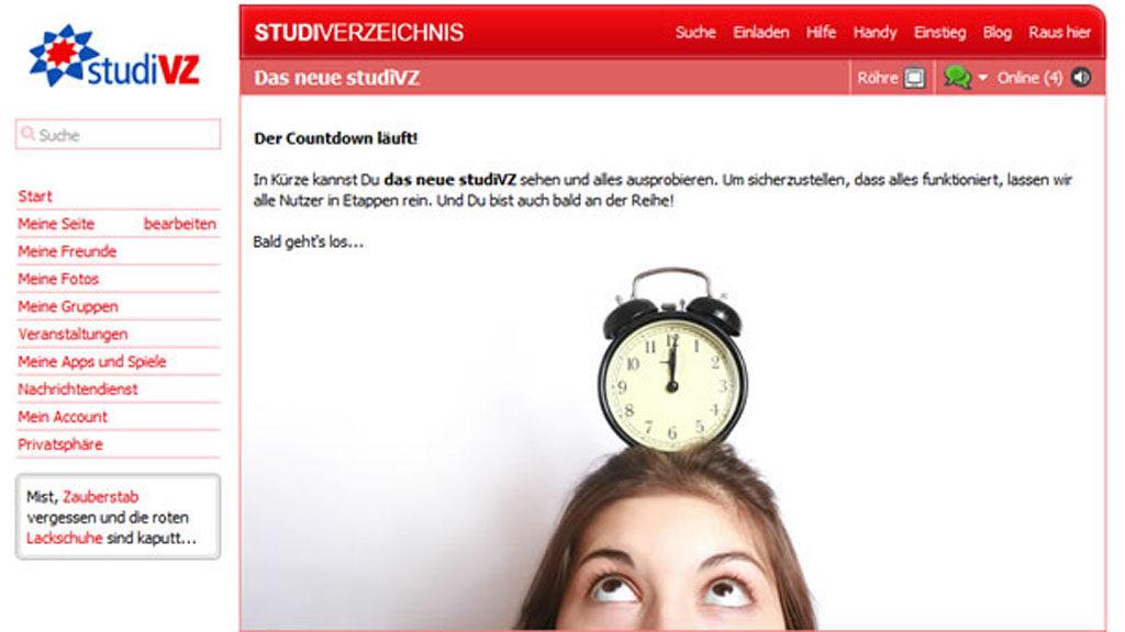 studiVZ Hinweis auf den Design-Relaunch (Screenshot: studiVZ / Frank Krause)