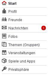 Neues StudiVZ-Menü (Screenshot: StudiVZ / Frank Krause)