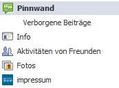 Das Menü einer Facebook-Seite (Screenshot: Facebook / Frank Krause)