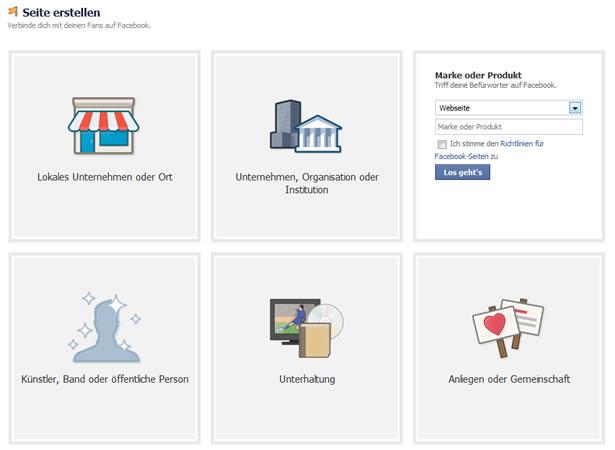 Die Themenbereiche für Facebook-Seiten. (Screenshot: Frank Krause / Facebook)