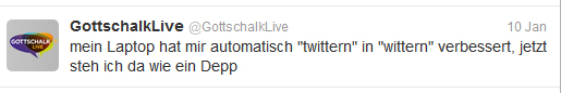 Thomas Gottschalk schreibt bei Twitter (Screenshot: Frank Krause / Twitter)