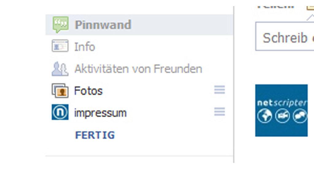 Eigene Tabs für die Facebook Seite (Screenshot: Frank Krause / Facebook)
