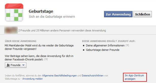 Dialog zum autorisieren einer Facebook-Anwendung (Screenshot: Frank Krause / facebook)