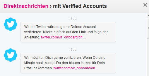 Direktnachrichten von @verified-Account. (Screenshot: Frank Krause / Twitter)