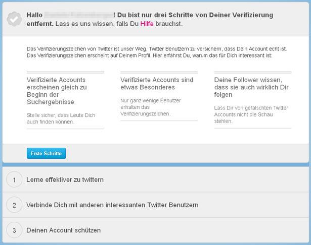 Die drei Schritte zum verifizierten Twitter-Account. (Screenshot: Frank Krause / Twitter)