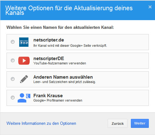 Mit welchem Google+ Account soll der Youtube-Account verknüpft werden? (Screenshot: Frank Krause / Youtube)