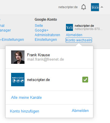Youtube-Konto einfach wechseln (Screenshot: Frank Krause / Youtube)