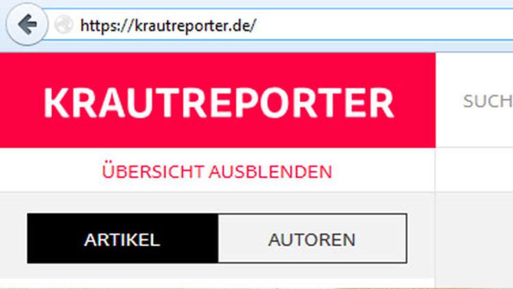 Die Startseite der Krautreporter (Screenshot: Frank Krause / Krautreporter)