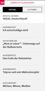 Die letzten sechs Artikel, Stand 24.09.2015 (Screenshot: Frank Krause / Krautreporter)