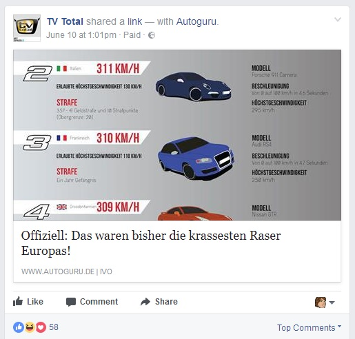 TV total postet Affiliate-Links für eine Auto-Seite (Screenshot: Facebook / TV total, 12.06.2017)